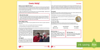 KS2 Comic Relief Differentiated Fact File - Comic Relief, KS2, year 3, year 4, year 5,year 6, yr 3, yr 4, yr 5, yr 6, reading comprehension, dif