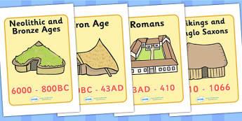 British Homes Through History Display Posters - house, home, building, Display Posters, A4, display, posters, brick, stone, saxon, roman, iron age, mud hut