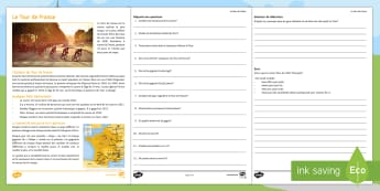Tour de France Differentiated Reading Comprehension Activity French - cycling, vélo, Sport, Free time, hobbies, reading activity, French, KS3,French