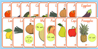 New Zealand Fruit and Vegetable Shop Role Play Posters