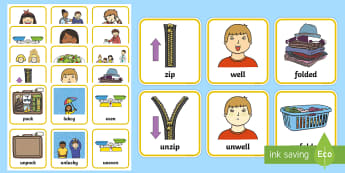 Opposites Using the Prefix un Matching Cards - Opposites Matching Cards - Opposite, matching, opposites, matching, prefix un, un prefix, kind, unki