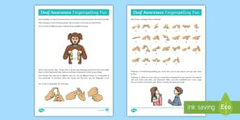 Deaf Awareness   FIngerspelling Fun (Right Handed) Activity - Deaf Awareness Week  UK (2.5.17), sign language, sign, finger spelling
