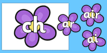 Phase 3 Phonemes on Flowers - Phonemes, phoneme, Phase 3, Phase three, Foundation, Literacy, Letters and Sounds, DfES, display