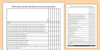 1999 Curriculum 4th Class Maths Measures Assessment Group Checklist - roi, gaeilge, maths, curriculum, 1999