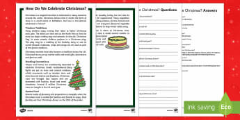 KS1 How Do We Celebrate Christmas Differentiated Reading Comprehension Activity - Christmas, Nativity, Jesus, xmas, Xmas, Father Christmas, Santa, traditions, Christmas Eve, angel, s
