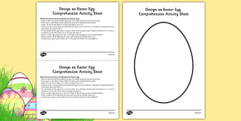 Design an Easter Egg Comprehension Activity Sheet - easter, egg, design, read, draw, worksheet