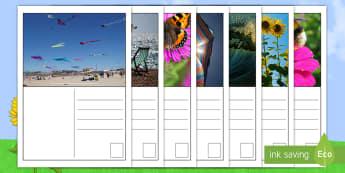 Feuille d'activités : Écriture   Cartes postales de l'été  - cartes postales de l\'été, production d\'écrits, été, vacances, écriture, cartes, reading
