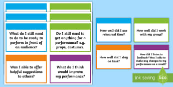 Drama Self-Evaluation Flashcards - CfE Expressive Arts, drama, self-evaluation, reflection, flashcards, self-assessment,Scottish