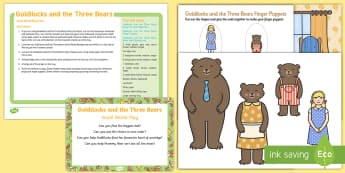 Goldilocks and the Three Bears Small World Play Idea and Printable Resource Pack - Goldilocks and the Three Bears, tuff tray, tuff spot, fairy tales, bears, small, medium, large, porr