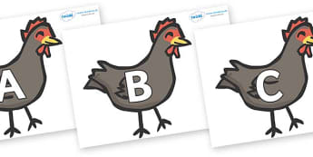 A-Z Alphabet on Handa's Hen - A-Z, A4, display, Alphabet frieze, Display letters, Letter posters, A-Z letters, Alphabet flashcards