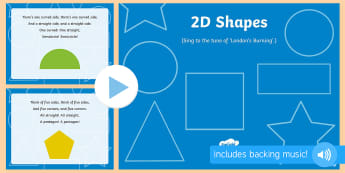 2D Shapes Song PowerPoint - shape, measure, pattern, EYFS, 2D, circle, semicircle, triangle, square, rectangle, pentagon, hexago