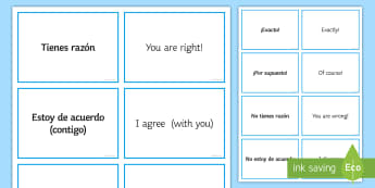 Spanish Agreeing and Disagreeing Expressions Matching Cards - Spanish, Vocabulary, matching, cards, agreeing, disagreeing, expressions.