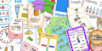 KS1 Maths Measurement and Geometry - Properties of Shape Display Pack Year 1 - ks1, maths, display