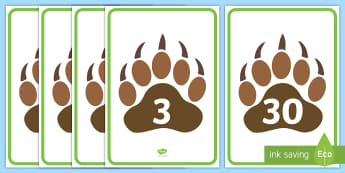 Numbers 0 to 30 on Paw Prints Display Posters  - EYFS, Early Years, animals, pets, numbers, counting, number line, bear hunt