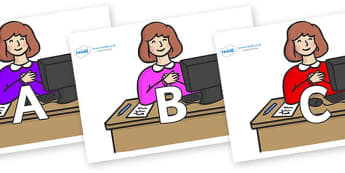 A-Z Alphabet on Receptionist - A-Z, A4, display, Alphabet frieze, Display letters, Letter posters, A-Z letters, Alphabet flashcards