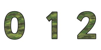 Camouflage Display Numbers (small) - camouflage display numbers, camouflage numbers, camouflage themed display numbers, camouflage themed numbers