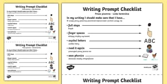 Writing Prompt Checklist Polish/English