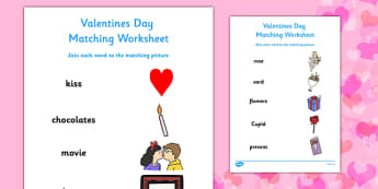 Valentines Day Word and Picture Matching Worksheet - valentines