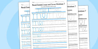 Pencil Control Loops And Curves Worksheet 7 - pencil control