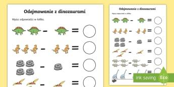 Karta Odejmowanie z dinozaurami - dino, dinozaur, dinozaury, dinozaurów, dodawanie, odejmowanie, liczb, liczby, cyfry, działania, ma