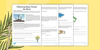 Year 2 Easter Around the World Comprehension - Easter, Year 2, comprehension, questions, Lent, Ash Wednesday, countries, world