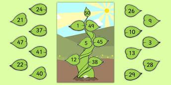 Number Bonds to 50 Beanstalk Activity - number bonds, 50, beanstalk, activity, number, bonds