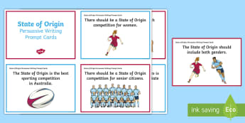 State of Origin Persuasive Writing Prompt Cards - Australia, Australian, English Curriculum, State of Origin,Australia