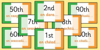 Gaeilge Ordinal Number Display Cards - gaeilge, ordinal, number, display, cards