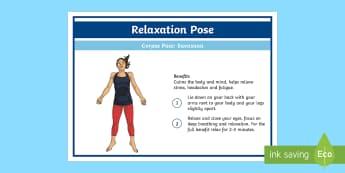Yoga Savasana Pose Step-by-Step Instructions - Yoga, health, stress, calm, peace, KS1, KS2, well being, anxiety, work life balance, WLB