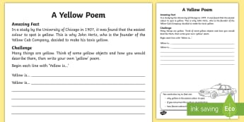 A Yellow Poem Activity Sheet - Amazing Fact Of The Day, activity sheets, powerpoint, starter, worksheet, morning activity, June, ye