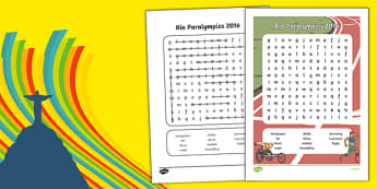 Rio Paralympics 2016 Word Search