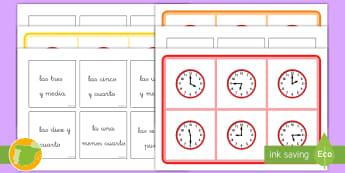 Bingo: Las horas - bingo, juego, la hora, tiempo, en punto, y media, y cuarto, menos cuarto, reloj, relojes, decir la h