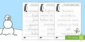 Ficha de trazo: El vocabulario invernal - invierno, ficha de trazo, trazar, motricidad fina, vocabulario, control de lápiz, French