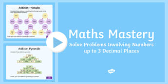Year 5, Fractions and Decimals, Solve Problems to Three Decimal Places Maths Mastery Activities PowerPoint