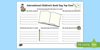 International Children's Book Day Top 5s Activity - International Children's Book Day, books, reading, book day, world book day