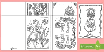 St. David's Day Mindfulness Colouring Cards - St David's Day, st david day, st davids day, saint david, dydd gwyl dewi, gwyl dewi.,Welsh