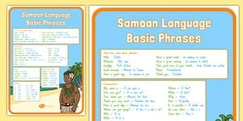 Samoan Language Basic Phrases A4 Display Poster