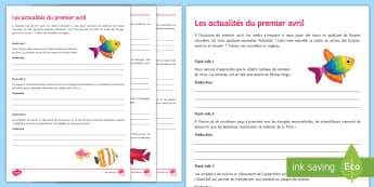 April Fool's Day Fake News Translation Activity Sheet - French - Poisson d'avril, April Fools Day, April Fool's Day, 1st April, 1er avril, premier avril, joke, bla