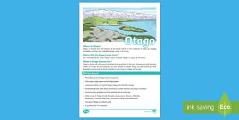 Otago Fact File - Otago, New Zealand, fact file, Year 1-3, my place, Aotearoa
