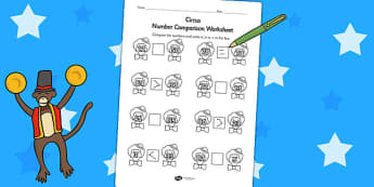 Circus Number Comparison Worksheets - more than, less than, maths