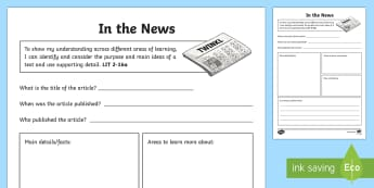 In the News Activity Sheet - CfE Literacy, reading comprehension strategies, newspaper articles, in the news,Scottish