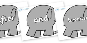Connectives on Elephants to Support Teaching on Elmer - Connectives, VCOP, connective resources, connectives display words, connective displays