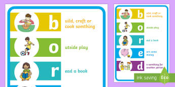 Boredom Buster Poster A4 Display Poster -  routine, organisation, help, advice, support, behaviour, holiday, home
