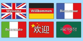 Pósters DIN A4: Bienvenidos - Lenguas extranjeras - pósters DIN A4, póster, lengua, lengua extranjera, bienvenido, bienvenidos, exponer, exposición,