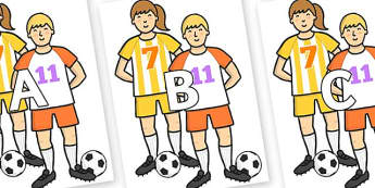 A-Z Alphabet on Players - A-Z, A4, display, Alphabet frieze, Display letters, Letter posters, A-Z letters, Alphabet flashcards