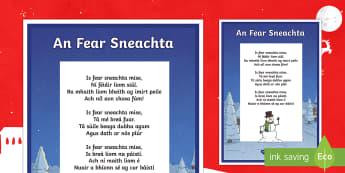 An Fear Sneachta, Dán Display Poster Gaeilge  - Irish, Gaeilge, Poem, Dán, Fear sneachta, snowman, winter, geimhreadh,Irish