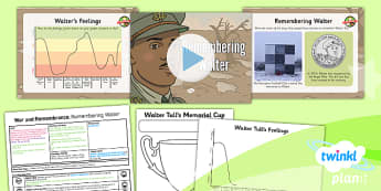 PlanIt - History KS1 - War and Remembrance Lesson 2: Remembering Walter Tull Lesson Pack