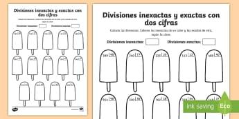 Ficha de actividad: Colorear por divisiones inexactas y exactas con dos cifras - polos - dividir, división, repartir, cifras, divide, division, sharing, figures, digits, escrito, escrita,