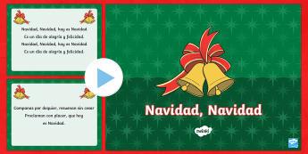 Jingle Bells Christmas Carol Lyrics PowerPoint - Spanish - Christmas, spanish, jingle, bells, lyrics, powerpoint, navidad