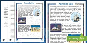 Australia Day Differentiated Reading Comprehension Activity - Australia Day, comprehension, national day, national celebration, European settlement, First Fleet,